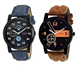 #3: OpenDeal New Designer & Stylish Leather Belt Combo Analogue Watch For Men LR01-02 (Pack Of 2)