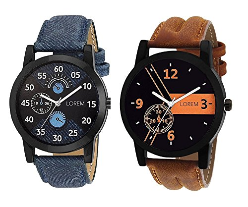 OpenDeal New Designer & Stylish Leather Belt Combo Analogue Watch For Men LR01-02 (Pack Of 2)
