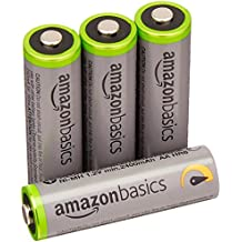 AmazonBasics Pre-charged Ni-MH AA rechargeable batteries - rechargeable batteries, 500 cycles (typically 2500mAh, minimum 2400mAh), 4pcs (outer sheath may vary from image)