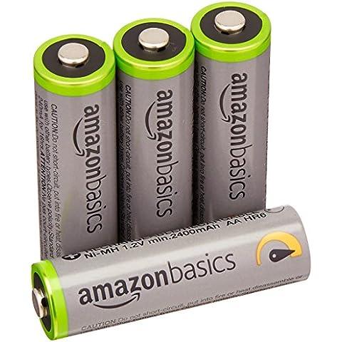 AmazonBasics - Juego de 4 pilas recargables AA Ni-MH (precargadas, 500 ciclos, 2500mAh, mínimo 2400