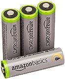 AmazonBasics - Pile Ricaricabili Stilo AA ad alta capacità, pre-caricate, 4 pezzi, durata di 500 cicli (2500 mAh, min. 2400 mAh). Involucro esterno variabile