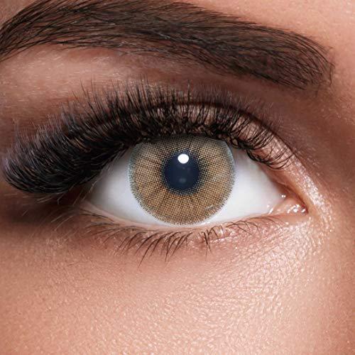 GLAMVUE Dubai Brown + Behälter I Sehr stark deckende natürliche braune Kontaktlinsen farbig I 1 Paar (2 Stück) I DIA 14.00 I ohne Stärke (De Dia Halloween De Fotos)