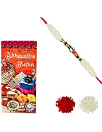 Aheli Pearl Crystal Rakhi for Men with Greeting Card and Roli Chawal Tilak (Gold) (RCA01)