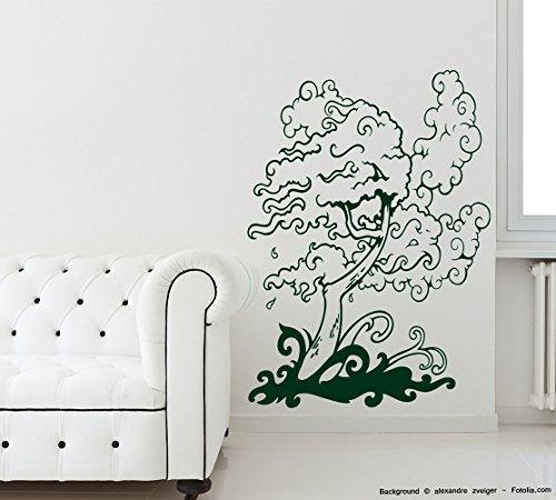 Adesivo da parete-Tree albero nel vento Ortensia (Ortensia Albero)