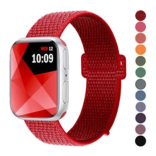 Naomo Kompatibel mit Watch Armband 38mm/40mm, Weiches Nylon Ersatz Uhrenarmband Ersatz für Watch Series 4, Series 3, Series 2, Series 1 (38mm/40mm, Tief Rot) Nylon-armband