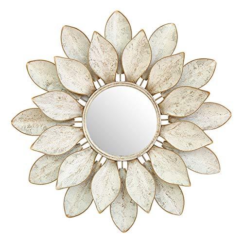 Cqing Espejo de Pared de Metal con Flor de Loto, Espejo Redondo de Pared Redondo con pétalos Decorativos...
