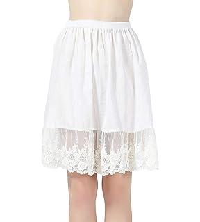 1d2eec2a3177 BEAUTELICATE Femme Jupon Dentelle Lingerie sous-Jupe Robe Coton Blanc Noir  Ivoire Court Mi-