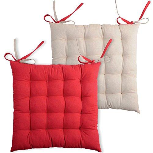 Galette de chaise carrée 40x40 100% Coton Lin-Rouge DUO
