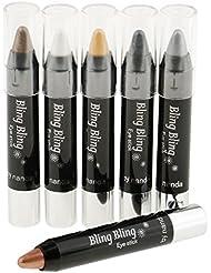MagiDeal 6 Couleurs Crayon Fards à Paupières Scintillant Etanche Longue Durée Eyeliner Stylo Automatique Maquillage Yeux