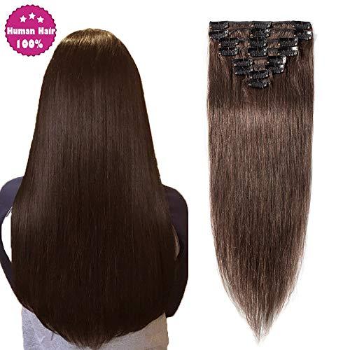 Remy Haarteile (SEGO Clip In Extensions Echthaar Remy Haarverlängerung Haarteil hitzebeständig glatt Mittelbraun#4 24