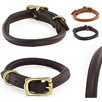[Gesponsert]Classic-Line von Pear Tannery: Hundehalsband aus aus weichem Vollrindleder, handgerollt, M 41-51cm, schokoladenbraun