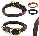Pear - Tannery - Classic Line: Hundehalsband Aus Weichem Vollrindleder, Handgerollt, L 46-56cm, Schwarz