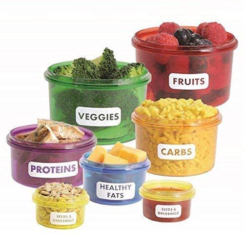 Star Ssto 7-tlg. Brotdosen Essen Savers Lebensmittel Aufbewahrung Behälter für Mahlzeiten Diät Mehrfarbig Kit für Gewichtsverlust Portion Control Behälter Set - Portion Control Kit