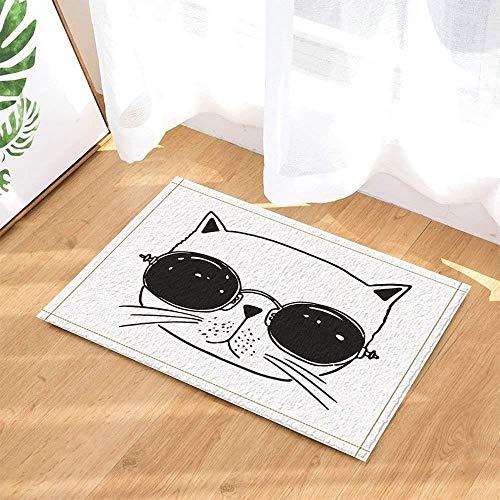 WENHUI Karikatur-Malerei auf weißem Hintergrund-Schwarz-Netter Katzen-Kopf-Mode-Sonnenbrille-Badezimmertür-Matten-Gleitschutzboden-Innenportalauflagekinder 40X60CM Zusätze