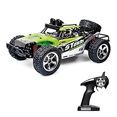 Vatos RC Car Off Road High Speed 4WD 40km/h 1:12 Scale 50M Remote Control 15 Mins Playing Time 2.4GHz Vehicle Buggy Truck with LED Night Vision (USB Charging Cable Included) (GREEN)