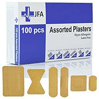 JFA Fabric Assorted Plasters (6 Sizes) 100 Plasters per pack
