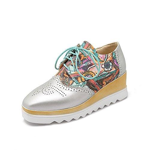 AllhqFashion Damen Blend-Materialien Mittler Absatz Schnüren Rund Zehe Pumps Schuhe Silber
