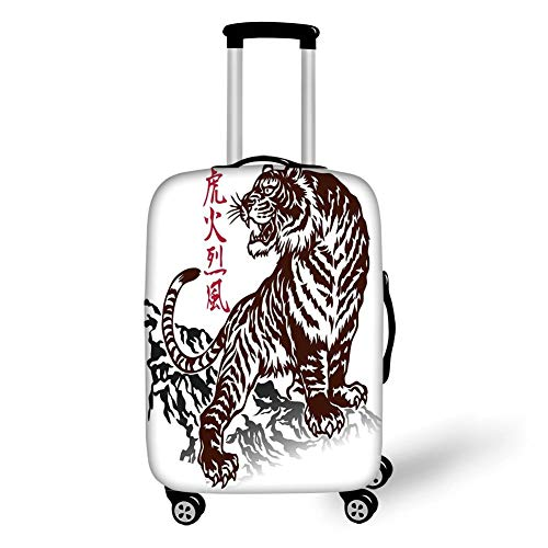 Tiger Spandex Rock (Travel Luggage Cover Suitcase Protector,Tattoo,Wild Chinese Tiger with Stripes and Roaring While its Paws on Rock Asian Pattern Decorative,Brown White,for Travel M)