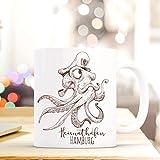 ilka parey wandtattoo-welt Maritime Tasse Becher Käpt'n Krake Kaffeetasse Kaffeebecher Geschenk mit Octopus Motto Spruch Heimathafen Hamburg ts662