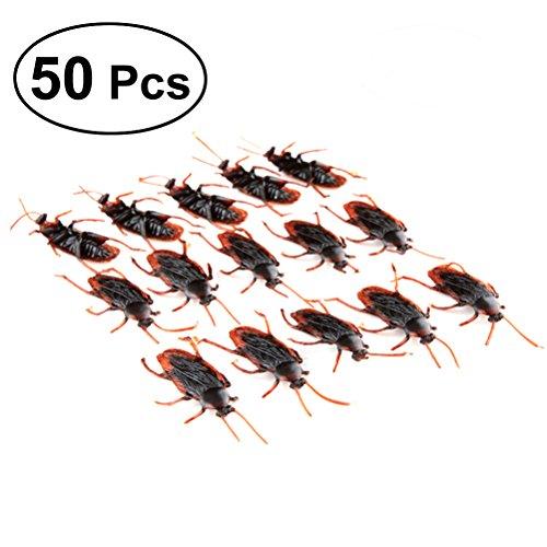 Vosarea 50 stücke Gefälschte Kakerlaken Kunststoff Realistische Bugs für Halloween Party Favors Dekorationen (Del Mar Halloween-party)