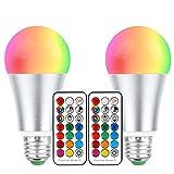 2 Stück mehrfarbige farbwechselnde LED-Leuchtmittel, 10 W, E27 Fassung, dimmbar, RGB+ Warmweiß mit Fernbedienung, perfekt für Haus-Bar, Party-Dekoration, Ambiente, Stimmungslicht