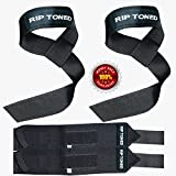 Lifting Straps + Wrist Wraps Bundle (1 PAIR of Each) by Rip Toned - *Bonus Ebook* for Weightlifting, Crossfit, Workout, Gym, Powerlifting, Bodybuilding - Lifetime Replacement Warranty! (Full Black)