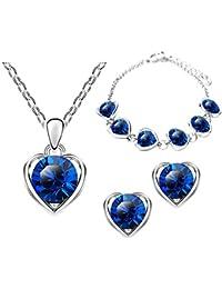 Silber Schmuck-Set mit Swarowski Kristallen blau türkis Kette Ohrringe Flügel