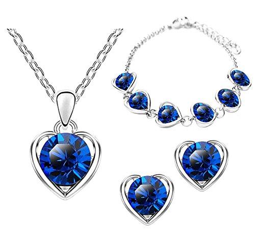 Mianova Damen 3 teiliges Set Silber in Herz Form mit runden Swarovski Elements Kristallen - Ohrringe Armband und Kette Blau