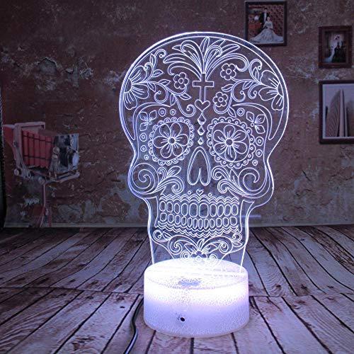 Illusion Led Schädel Nachtlicht Lampe 3D Nachtlampe Geschenk Home Schlafzimmer Büro Party Decor Geburtstag Halloween Weihnachtsgeschenk Kind