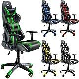 Diablo X-One Bürostuhl, Gaming Chair, Drehstuhl mit Armlehnen, Chefsessel, Gaming Stuhl, Schalensitz, Sportsitz mit Bezug aus Kunstleder (grün/schwarz)