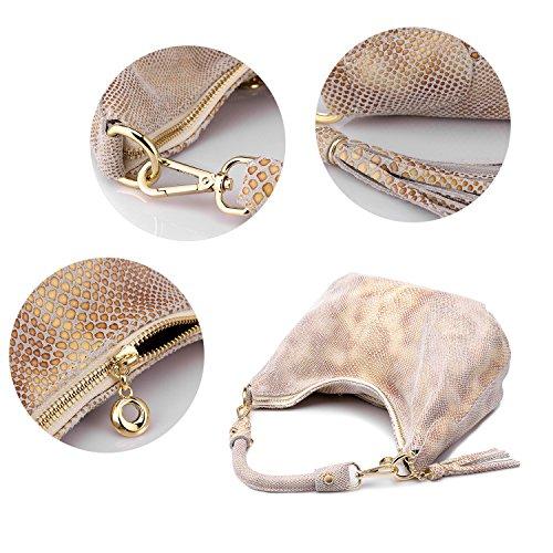 Realer Borse donne borsa piccola pelletteria Hobos messaggero con nappe Beige