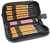 Holz-Schnitzwerkzeug Set, KWOKWEI 12 teiliges Holz-Schnitzmesser mit SK2 Stahlmeißel, Professional Holzschnitzerei Meißel Set mit Schleifsteine für holz, Obst, Gemüse, Carving DIY, Skulptur und Wax