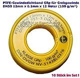 Rollo de cinta selladora (PTFE (teflón banda) GRP para rosca gruesa DN50según DIN EN 751-3, 12mm x 0.1mm x 12m (100g/m²), blanco