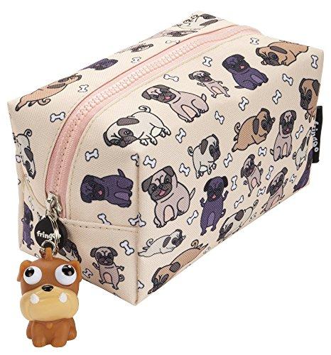 Fringoo® - grande astuccio quadrato per matite, cancelleria, sacchetto con cerniere e pupazzetto morbido sulla chiusura grande pugs world