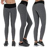 Formbelt® Pantalon de running femme avec ceinture running / running-belt - legging / pantalon de course sport - yoga - fitness   long, imprimé (gris, XL)
