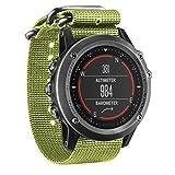 Malloom Correa de nylon de lujo 5 anillo reloj de reemplazo para Garmin Fenix 3 banda (verde)