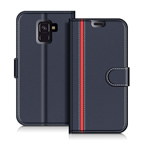 COODIO Samsung Galaxy A8 2018 Hülle Leder Lederhülle Ledertasche Wallet Handyhülle Tasche Schutzhülle mit Magnetverschluss/Kartenfächer für Samsung Galaxy A8 2018, Dunkel Blau/Rot