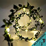 Ascension ® Green Leaf Garland Decoration LED String Light 60 Leds 7m Leaves Strip Décor Lightning For Patio, Gardens, Bedroom, Dorm Room, Diwali ,Navratri Wedding, Halloween Christmas Tree Party (Warm White)