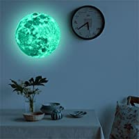 Weant 20cm 3D Large Moon Planet Fluorescent Absorb Light Wall Sticker Removable Decal Decorations Wall Stickers for Bedrooms Girls Boys Kids Shop Windows Living Room(Green)