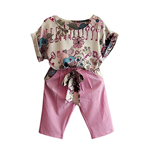 Infants T shirt+Pants, Transer® Kids Short Sleeve T-shirt Tops+ Shorts Girls Outfit Clothes 1-7 Years Toddlers Tshirts Short Pants Baby Summer Clothing Set (1-3 Years, Pink)