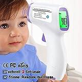 Digitales Infrarot Fieberthermometer Stirnthermometer – Berührungslos für Babys, Kinder, Erwachsene und Gegenstände mit sofortigem Ergebnis