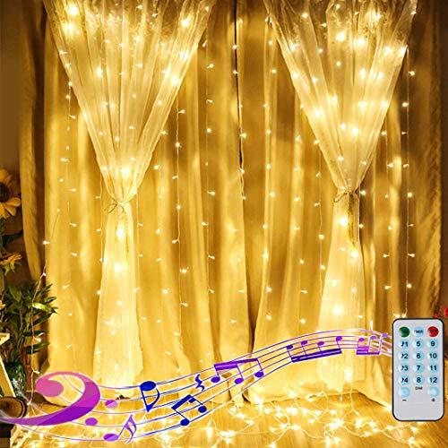 LED Lichtervorhang 3X3M 300LED Lichterkette vorhang USB Lichterkette Innen mit 12modi für Deko Weihnachten Außen Party Hochzeit(Warmweiß) -