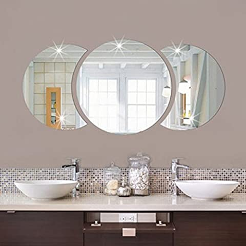 HENGSONG 3D Round Sticker DIY Mirror Wall Stickers Art Decal for Home Office Decor (Silver)