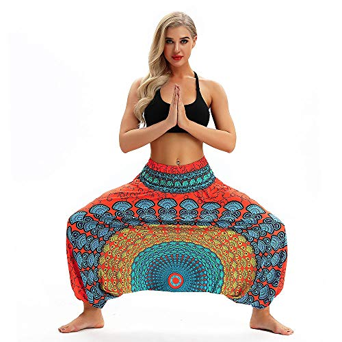 ITISME Yoga,Abbigliamento Sportivo Pantaloni Donna Abbigliamento Yoga Pilates Leggings Tuta Donna Casuale Estate Sciolto Yoga I Pantaloni Cascante Boho Aladdin Tuta Harem Pantaloni 2019 Estate Nuovo
