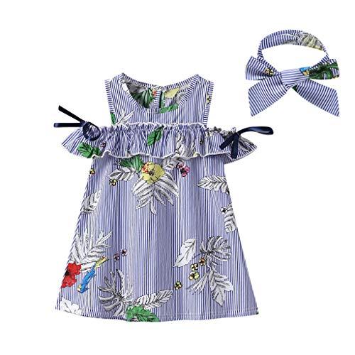 Lazzboy Vestido Estampado de Rayas con Volantes con Volantes y Estampado Floral sin Mangas para niña pequeña (Azul,18-24 Meses)
