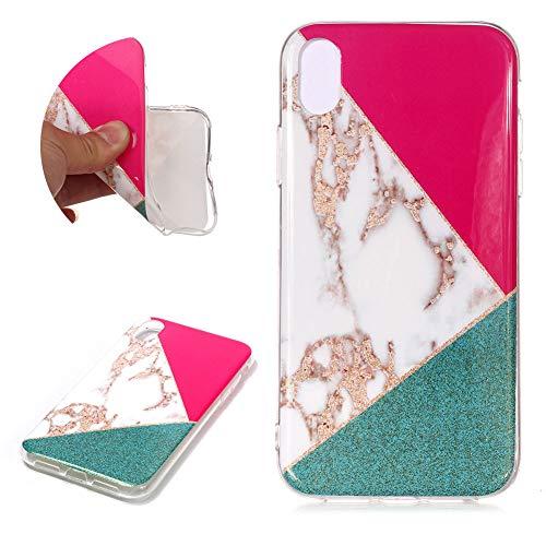 SKYXD Multicolore Marbre Glitter Coque pour iPhone XS Max, Triangle Rouge + Blanc + Vert Couture Paillette Motif Design TPU Silicone Souple Ultra Mince Premium Protection pour iPhone XS Max 6.5\