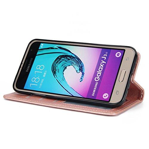Custodia Galaxy J3 2016, Cover Galaxy J3 2015, ISAKEN Flip Cover per Samsung Galaxy J3 2015/2016 con Strap, Elegante Bookstyle Contrasto Collare PU Pelle Case Cover Protettiva Flip Portafoglio Custodi oro rosa