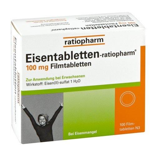 Eisentabletten Ratiopharm 100 mg Tabletten, 100 St.