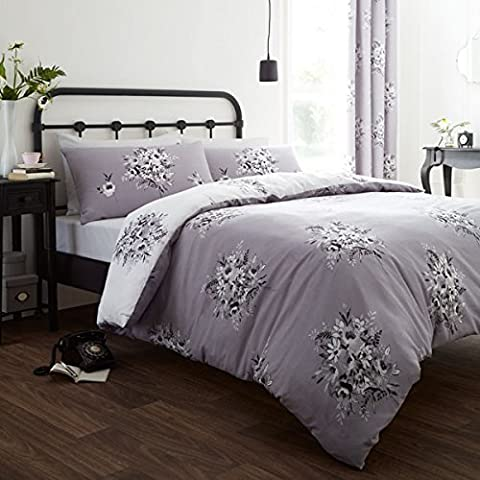 Catherine Lansfield Home Designer Collection Floral Bouquet Duvet Cover Set, Grey, King