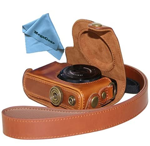 MegaGear Hellbraun Leder Kameratasche für Canon Power Shot S120 Objektiv Digital Kamera